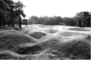 Remains of trenches and mine craters on Vimy Ridge