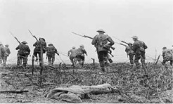 British troops attacking (filmed for showing in Britain)