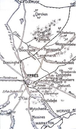 Area around Ypres 1914