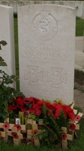 Noel Chavasse is buried at Brandhoek New Military Cemetery