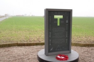 The memorial which marks Sapper Hackett's final resting place