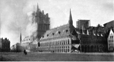 The Cloth Hall at Ypres on fire November 1914