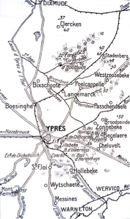 Area around Ypres 1914