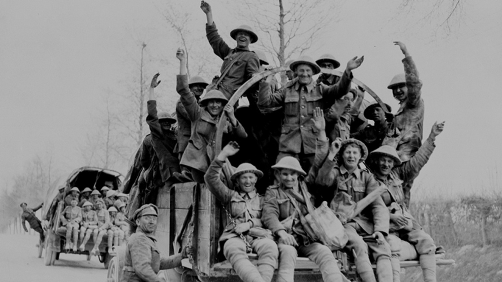 Canadian troops following capture of Vimy Ridge