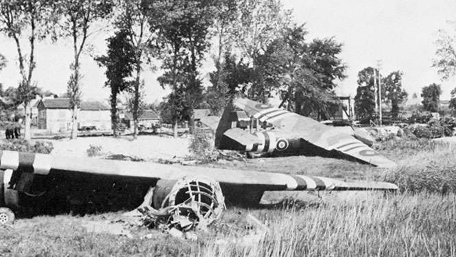 The three gliders at the Canal bridge at Bénouville. Glider No 3 can be seen broken in half.