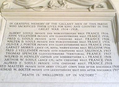 Memorial in St John's Church Great Rissington